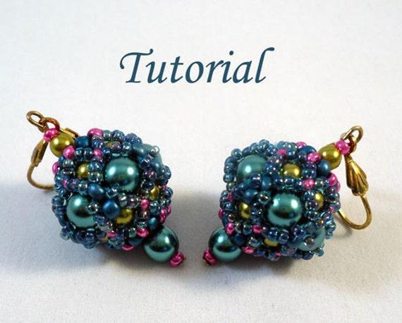 Tutorial Beaded bead earrings 4 - beading pattern PDF