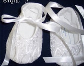 Christening Shoes/Booties,  Alone or to Match a Gown