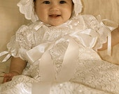 Elegant Christening Gown, Baptism Gown, Blessing Gown, Presentation Gown with Bonnet