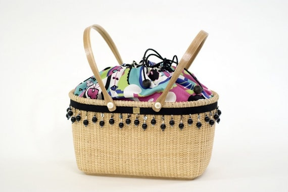 Knitting Basket With Handles : Hibiscus sewing and knitting basket by nantucketgirls on etsy