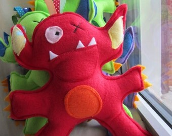 Tooth fairy red monster pocket pillow