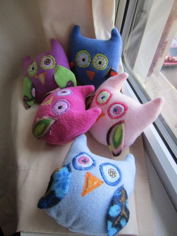 Tooth fairy pink fleece owl pocket pillow