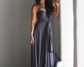 Pier Charcoal Lux Long Octopus Convertible Wrap Gown