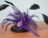 Purple and black feather fascinator