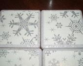 Porcelain Tile Coasters- Silver Snowfall, Set of 4