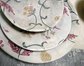 Handmade dinner plate, side plate, dessert bowl, place setting, stoneware clay, pottery, ceramic