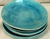 Hand made Side/salad plates, stoneware plates, set of 6 aqua crackle glazed