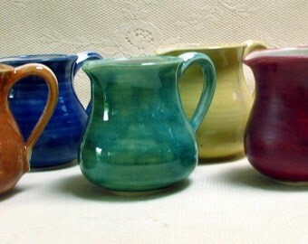 READY TO SHIP handmade, pottery, stoneware, clay, colorful creamers, mini pitchers,