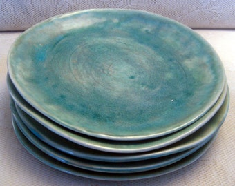 Handmade ceramic plates, dinnerware, Wedding gifts, Set of 6 Organic shaped Tableware, pottery plates Dinnerware set