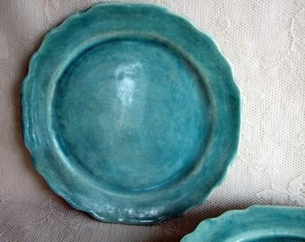 Handmade dinner plates-stoneware-pottery-ceramic-cut edges-set of six aqua blue