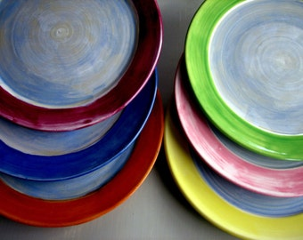 Wheel thrown side plates, Stoneware side plates, Colorful side plates by Leslie Freeman