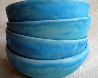 Soup/cereal bowls, wheel thrown, stoneware turquoise everyday bowls