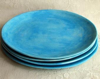 Dinner plates, handmade ceramic stoneware, pottery, organic dinner plates, stoneware plates, rustic dinner plates, by Leslie Freeman