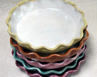 READY TO SHIP! Pie plates, Mini pie plates, Handmade stoneware pie plates by Leslie Freeman