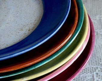 Handmade Stoneware Dinner Plates, Wheel Thrown Dinnerware Sets by Leslie Freeman
