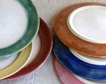 handmade pottery, ceramic, stoneware clay, side plates, salad plates, sandwich plates, colorful