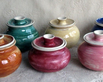 READY TO SHIP Sugar bowls, wheel thrown, six colors to choose from.