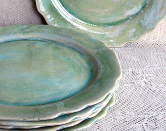 Set of Six cut edge plates, Handmade stoneware plates, dinner plates, dinnerware, stoneware plates, by Leslie Freeman