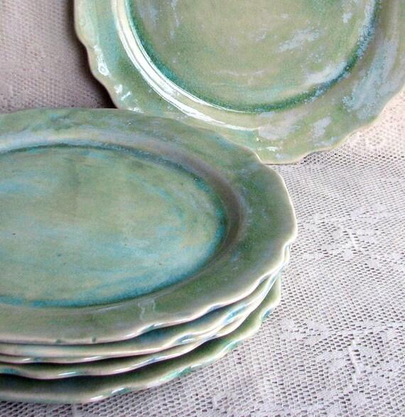 Set Of Six Cut Edge Plates Handmade Stoneware Plates Dinner