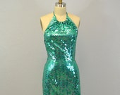 Vintage sequin evening gown / Cache / small / mermaid green