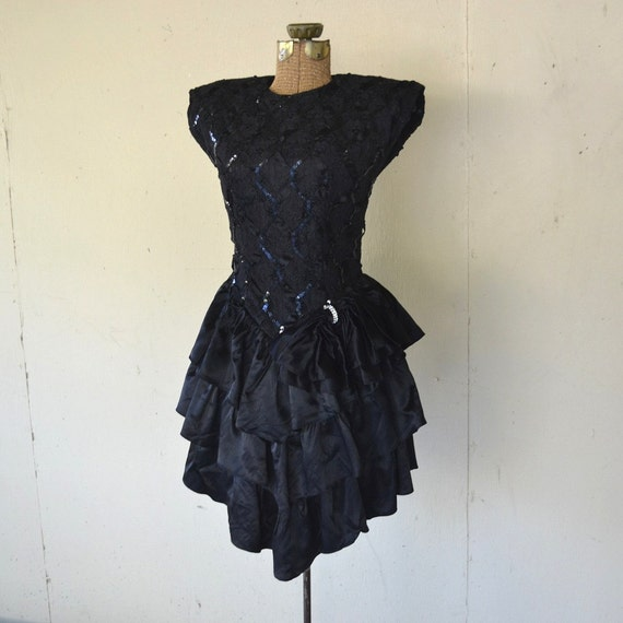 1980's Ruffled Party Dress Small