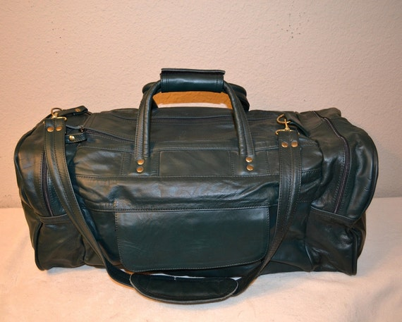 Leather Duffle Bag / Forest Green / oversized