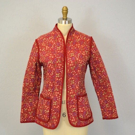 RESERVED  Quilted Hippie Jacket / Cranberry Floral / 1970s / Medium
