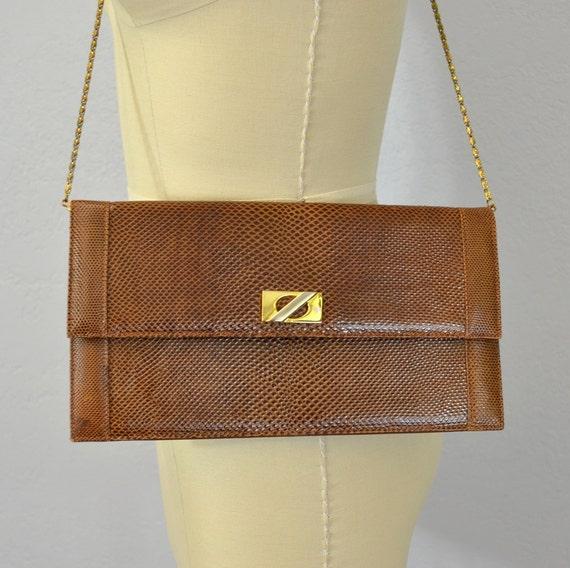 Snakeskin purse /  brown shoulder bag / chain strap