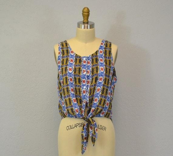Vintage crop top / ethnic print / tie waist / 1980s