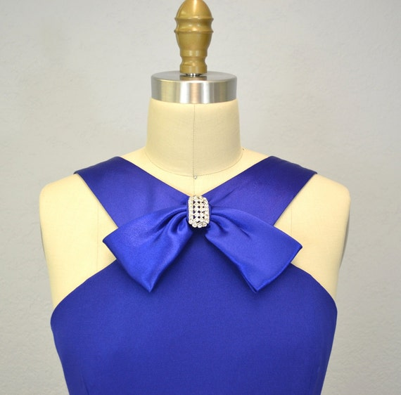 Cocktail dress /  1980s /  rhinestone bow / small