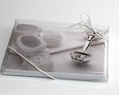 IN STOCK SALE  Baby Announcements, baby shower invite, booties and rattle Baby Boy, Baby Girl, New Mom Gift Cards, Thank you Cards