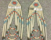 Coral/Turquoise Native American style Quill Earrings