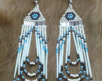 Native American Style Seed Beaded Quill Earrings