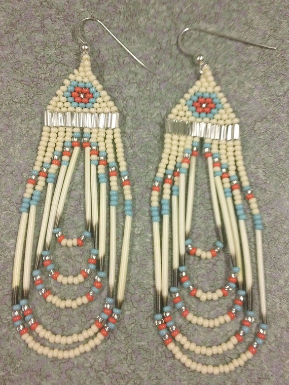 Beaded Coral/Turquoise/Bone Quill Earrings