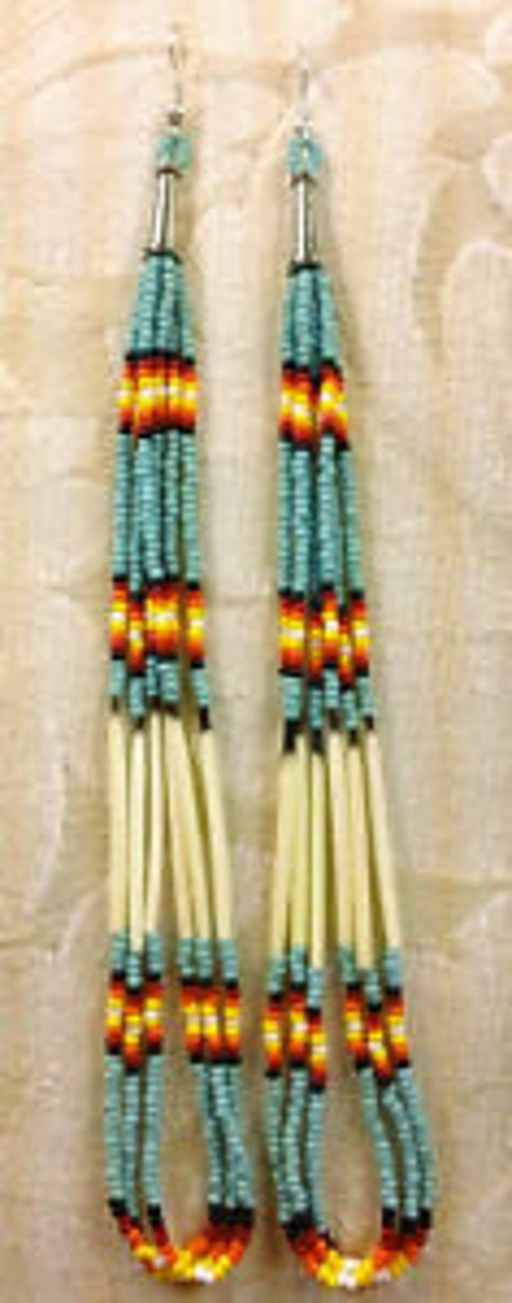 "6 1/2"" Long Turquoise Beaded Porcupine Quill Earrings"