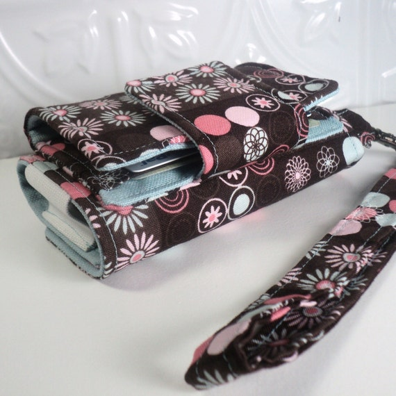 On Sale - The Errand Runner - Cell Phone Pouch/Wallet - Wristlet - Pink Allover Floral Dots