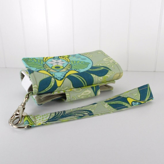 The Errand Runner - Cell Phone Wallet - Wristlet - Blossoming in Sage