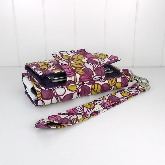 On Sale - The Errand Runner - Cell Phone Wallet - Wristlet - Sprigs in Cream