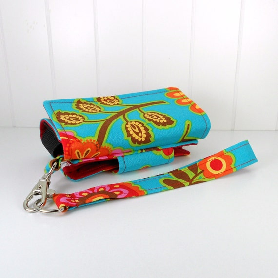 The Errand Runner - Cell Phone Wallet - Wristlet - Michael Miller's, Bouquet de Fleurs in Turquoise/Red