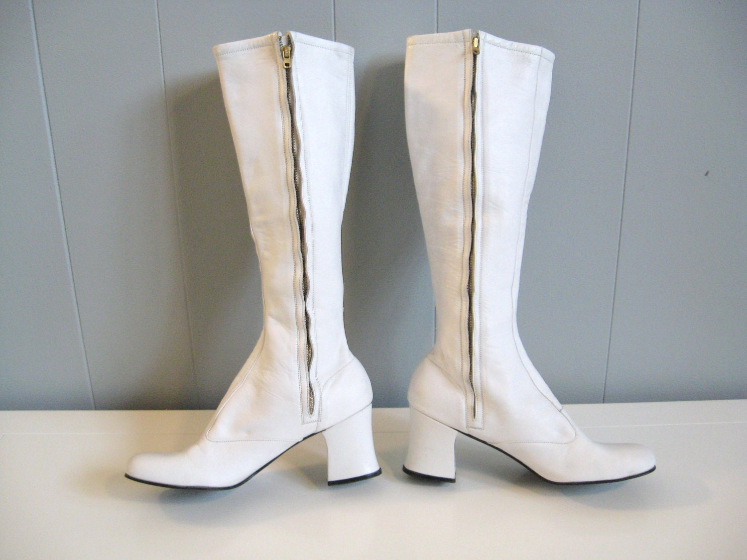 60s vintage white leather mod gogo boots 6 7 by