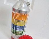 ON SALE Vintage Cocktail Shaker Hazel Atlas 1930s Stripes Primary Colors LId Chrome Margaritas Martini Mixed Drink Cocktail Party Barware