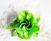Vintage Brooch Enamel Flower Neon Green BLING