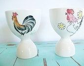 Vintage Egg Cup Rooster PInk Pastel Mid Century Breakfast Brunch Country Decor Farmhouse Style