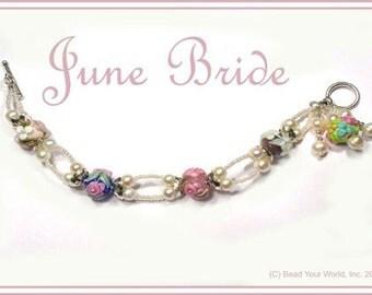 June Bride  Lampwork and Pearl Bracelet Kit