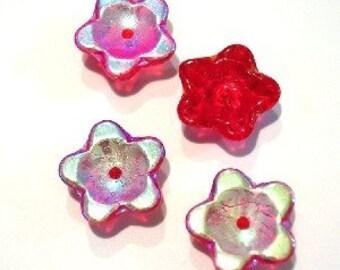 Ruby AB Glass Flower Bead   (4944)