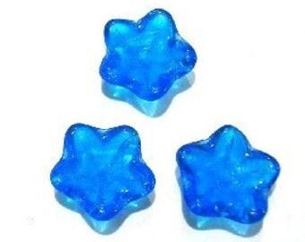 Capri Blue Glass Flower Bead   (4947)