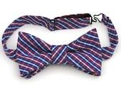 Nœud papillon Coton Pima bleu et rouge pour les hommes