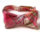 Men's Bow Tie in Cotton Candy Patchwork Madras