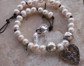 Freshwater Pearl Necklace / Faith Love Necklace / Romantic Elegant Necklace / Religious Necklace / Christian Necklace / Leather Necklace