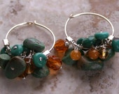 Rustic Earthy Necklace / Blue Green Necklace / Turquoise Necklace / Amber Necklace / Sterling Hoop Earrings